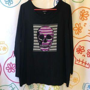 💀 Torrid Black Skull Sweater Size 1 (14/16) 🖤